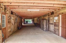 Ample walkways in the barn.